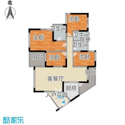 新世纪丽江豪园五期牡丹阁户型图逸景阁01单元2-14层01户型 4室2厅3卫