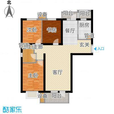 河畔新城・名门组团户型图B2户型 3室2厅1卫1厨