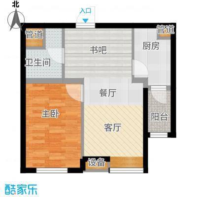 河畔新城・名门组团户型图A2户型 1室2厅1卫1厨