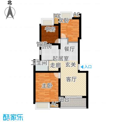 万科白马花园86.00㎡万科白马花园户型图上海南都白马花园B-1a型无地下室户型图3室2厅1卫户型2厅1卫