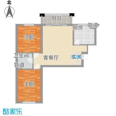 保利海棠花园户型图2室2厅1卫
