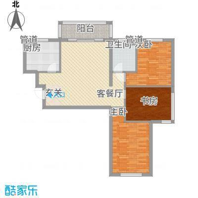 保利海棠花园户型图3室2厅1卫