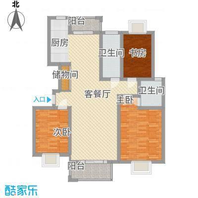 金榈湾130.00㎡金榈湾户型图2#小高层D23室2厅2卫1厨户型3室2厅2卫1厨