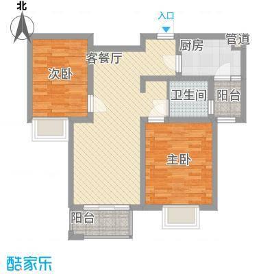 金榈湾85.00㎡金榈湾户型图D2标准层2室2厅1卫1厨户型2室2厅1卫1厨
