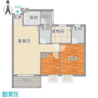 丽景名门二期90.00㎡丽景名门二期户型图2栋标准层D户型3室2厅2卫1厨户型3室2厅2卫1厨