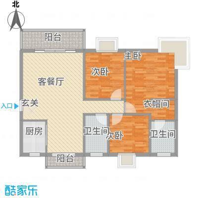 丽景名门二期106.16㎡丽景名门二期户型图2栋标准层C户型3室2厅2卫1厨户型3室2厅2卫1厨