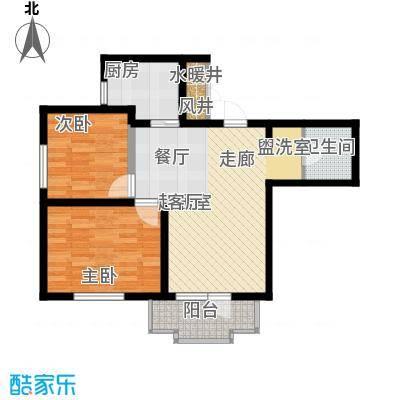 海岸东方80.89㎡海岸东方户型图D2、D4#楼户型2室2厅1卫1厨户型2室2厅1卫1厨