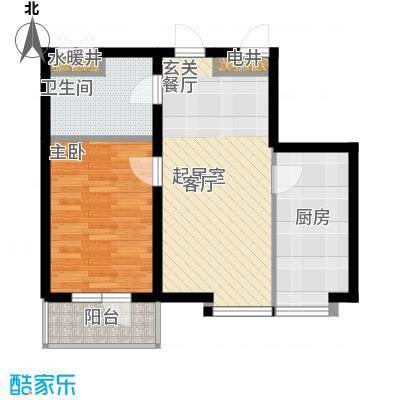 海岸东方67.00㎡海岸东方户型图D2、D4#楼户型1室2厅1卫1厨户型1室2厅1卫1厨