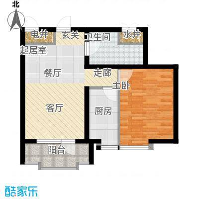 海岸东方61.44㎡海岸东方户型图D2、D4#楼户型1室2厅1卫1厨户型1室2厅1卫1厨
