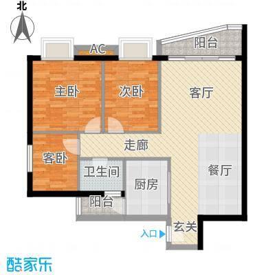 万科金色家园87.02㎡深圳万科金色家园一期户型图4户型10室