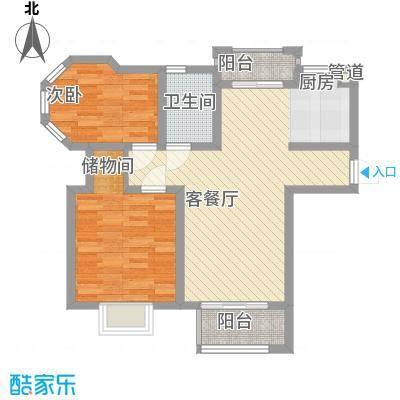 金榈湾86.00㎡金榈湾户型图D1边套标准层2室2厅1卫1厨户型2室2厅1卫1厨