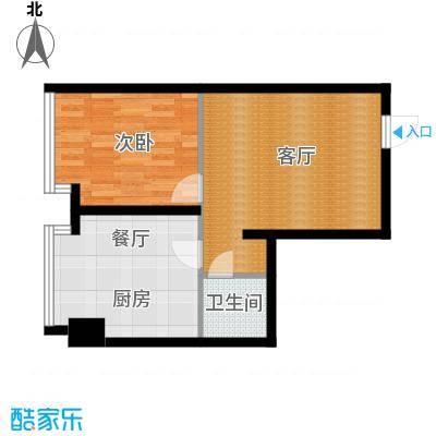 中海国际公寓77.18㎡户型1室2厅1卫