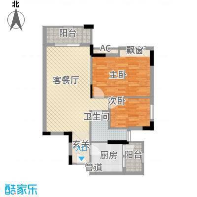 富海花园户型图1栋402单元 2室2厅