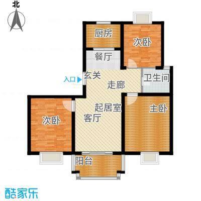 汇丰沁苑户型图b2户型图 3室2厅1卫1厨