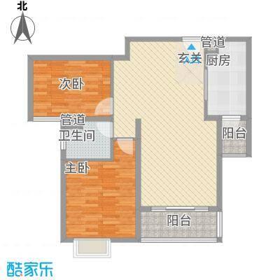 逸流公寓二期105.44㎡逸流公寓二期户型图二期A型2室2厅1卫户型2室2厅1卫