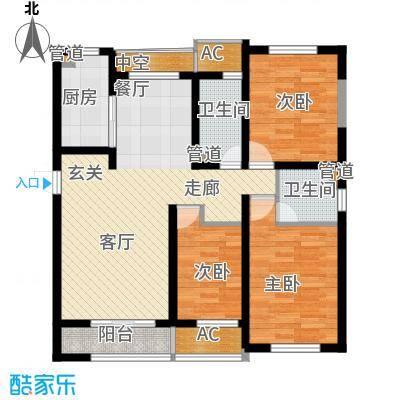 新创理想城92.00㎡新创理想城户型图88#楼C2户型2室2厅1卫1厨户型2室2厅1卫1厨