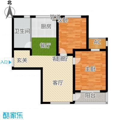 新创理想城96.00㎡新创理想城户型图88#楼A1户型图2室2厅1卫1厨户型2室2厅1卫1厨