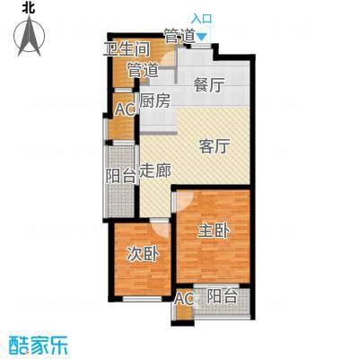 新创理想城88.00㎡新创理想城户型图三期A288平米2室2厅1卫1厨户型2室2厅1卫1厨