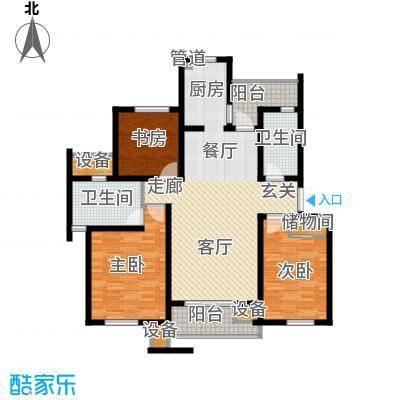 新港名墅花园120.00㎡新港名墅花园户型图3#7#楼标准层B户型3室2厅2卫1厨户型3室2厅2卫1厨