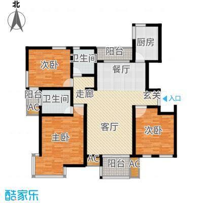 新港名墅花园142.00㎡新港名墅花园户型图9#标准层X户型3室2厅2卫1厨户型3室2厅2卫1厨