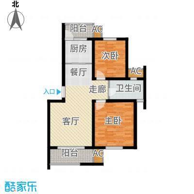 新港名墅花园88.00㎡新港名墅花园户型图3#7#楼标准层A户型2室2厅1卫1厨户型2室2厅1卫1厨