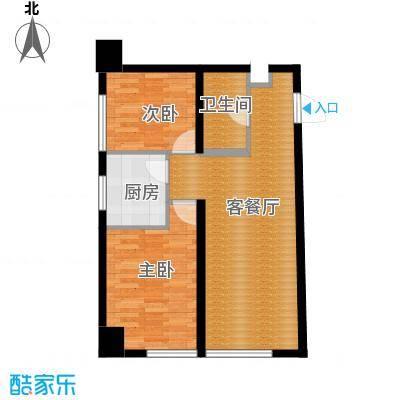 中海国际公寓71.09㎡户型2室1厅1卫1厨