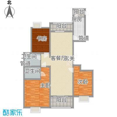 灏景天下户型图B户型面积 3室2厅2卫1厨