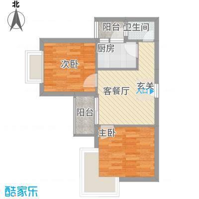 汇豪国际公寓户型图户型图 2室1厅1卫1厨