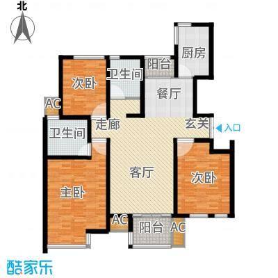 新港名墅花园130.00㎡新港名墅花园户型图9#标准层Y户型3室2厅2卫1厨户型3室2厅2卫1厨