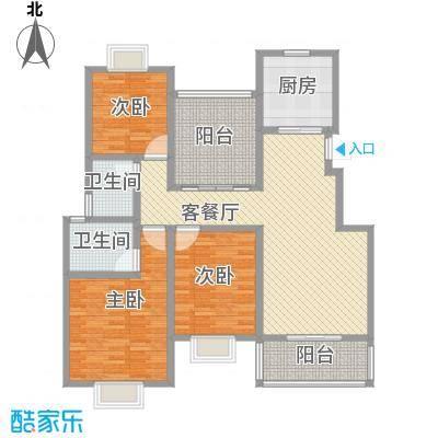 美岸青城幸福里123.00㎡美岸青城―幸福里户型图四期55幢L2户型3室2厅2卫1厨户型3室2厅2卫1厨