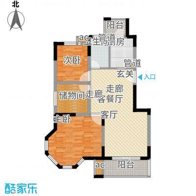 红墅1858公寓户型图H户型 2室2厅1卫