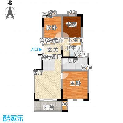 红墅1858公寓户型图F户型 3室2厅1卫