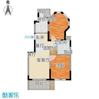 红墅1858公寓户型图E户型 2室2厅1卫