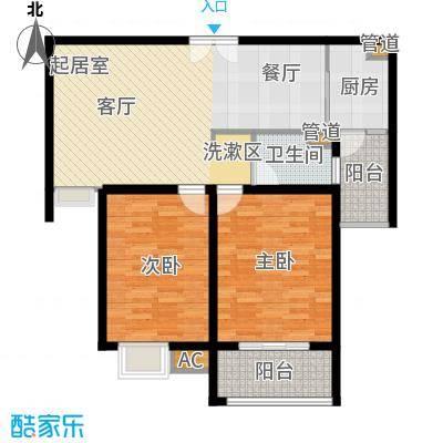 富顿街区户型图4号标准层B型 2室2厅1卫