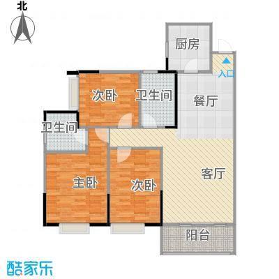 兰亭熙园110.00㎡6栋户型3室1厅2卫1厨
