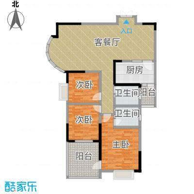 湘隆时代大公馆110.00㎡房型户型3室1厅2卫1厨