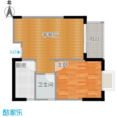 恒通御景天都47.85㎡8号楼3号房户型1室1厅1卫1厨