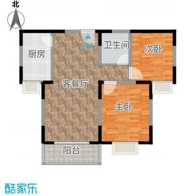 中航瑞祥花园95.69㎡B1户型2室2厅1卫