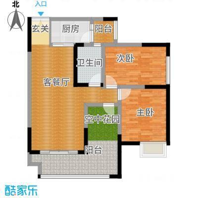 华宇春江花月73.07㎡2期12号楼2号房标准层户型2室1厅1卫1厨