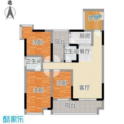 华宇春江花月104.02㎡6号房户型3室1厅2卫1厨