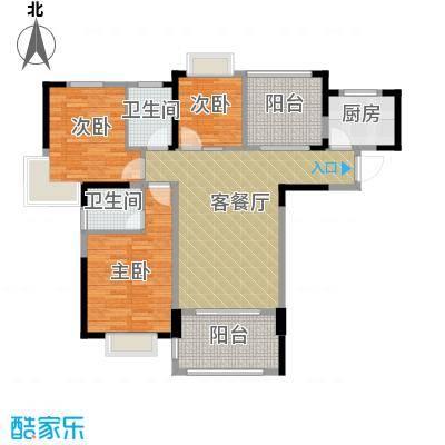 人信太子湾108.00㎡G1-01户型3室1厅2卫1厨