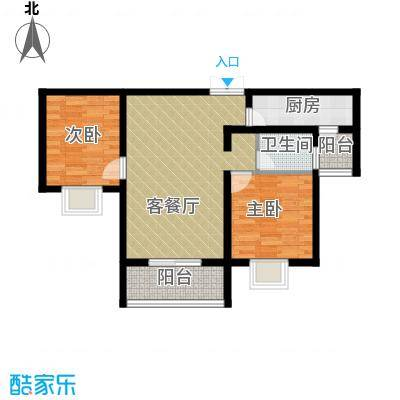 秦水名邸88.00㎡A188户型2室1厅1卫1厨