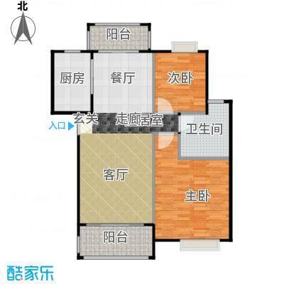 华标荔苑84.43㎡C1、C2、D1、D2栋01单元户型2室1卫1厨
