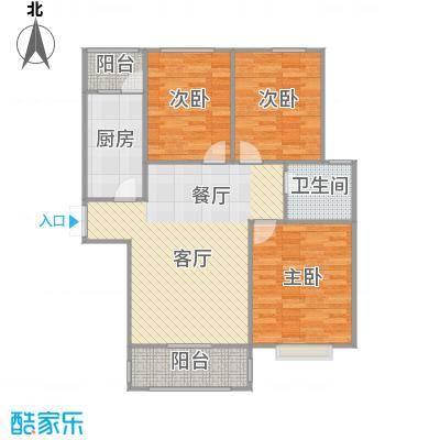 龙泽国际104.81㎡户型3室1厅1卫1厨