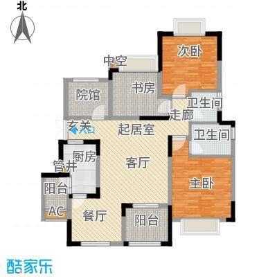 中铁山水时光洋房A4-6户型 三室两厅两卫 套内面积约102.74平米户型3室2厅2卫