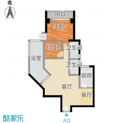 居礼润园81.76㎡4&5号公寓户型2室1厅2卫1厨