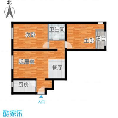 亿城堂庭90.00㎡J户型2室1卫1厨