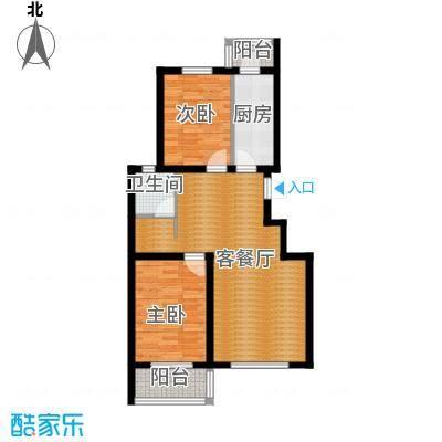 滨湖庄园88.00㎡506楼W户型2室1厅1卫1厨