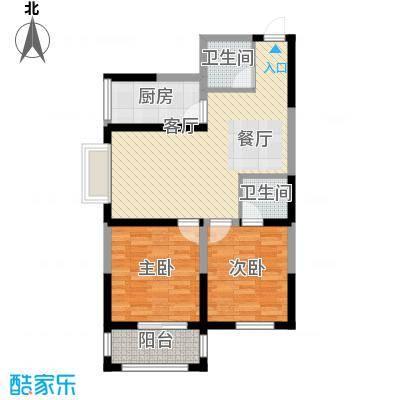 明林庭苑89.65㎡D户型2室2厅2卫
