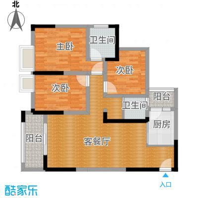 华宇春江花月87.21㎡8号楼2号房户型3室1厅2卫1厨